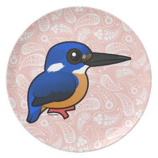 Martín pescador del azul de Birdorable Plato Para Fiesta