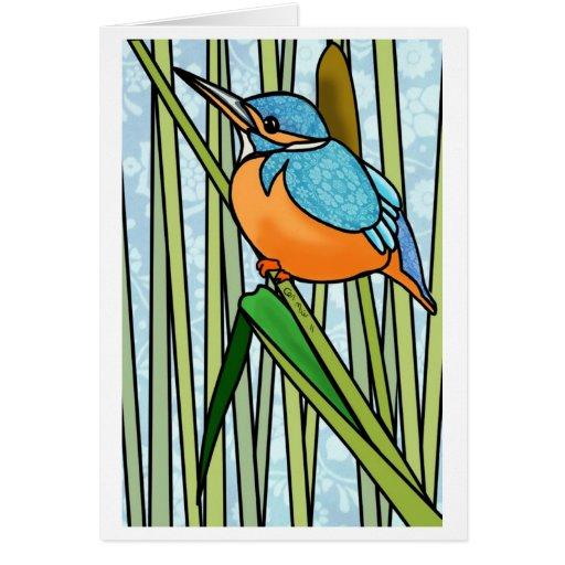 Martín pescador hermoso en las cañas tarjeta de felicitación