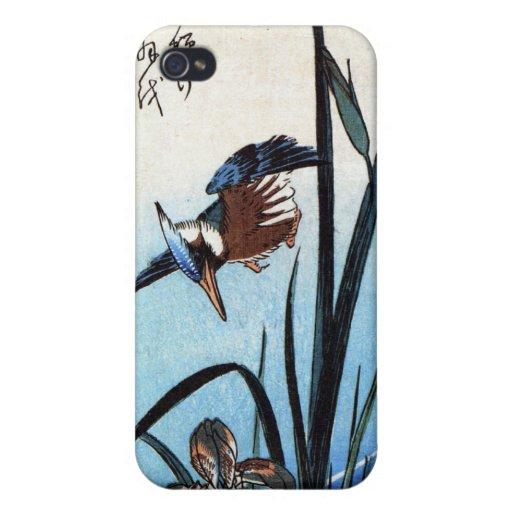 Martín pescador y lirios, Hiroshige iPhone 4 Fundas