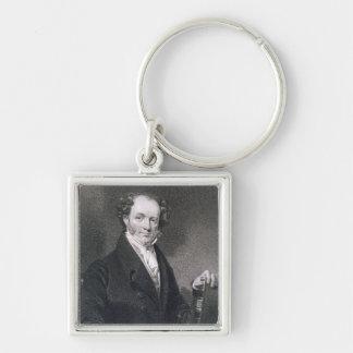 Martin Van Buren, grabado por E. Wellmore (engravi Llavero Cuadrado Plateado