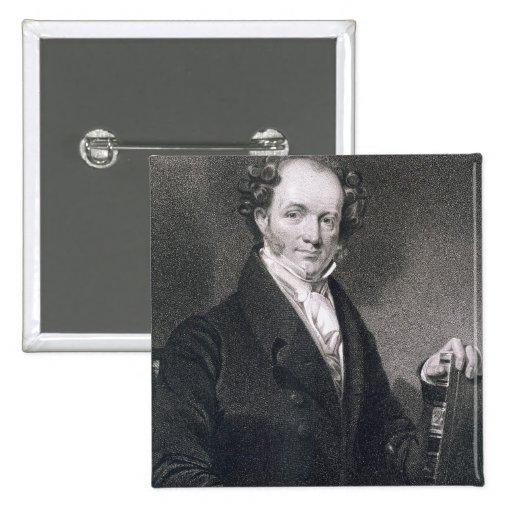 Martin Van Buren, grabado por E. Wellmore (engravi Pin Cuadrada 5 Cm