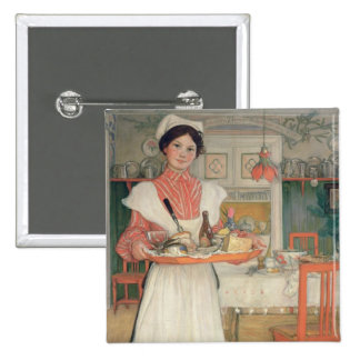 Martina Carrying Breakfast on a Tray, 1904 Pinback Button