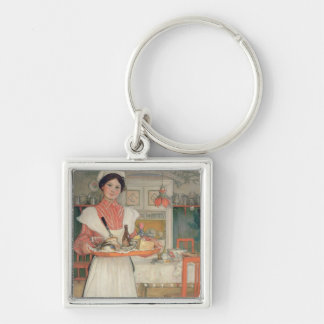 Martina Carrying Breakfast on a Tray, 1904 Silver-Colored Square Keychain