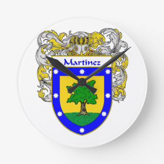Martinez Coat of Arms/Family Crest Round Clock