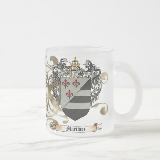 Martinez Coat of Arms Frosted Glass Coffee Mug