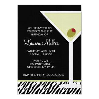 Martini and Zebra Pattern 5x7 Paper Invitation Card