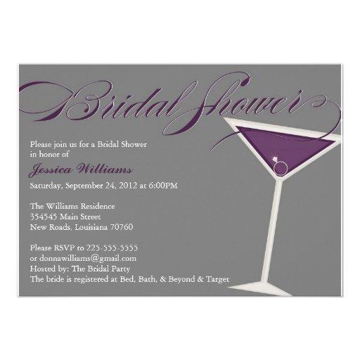 Martini Bridal Shower   Purple Invitation