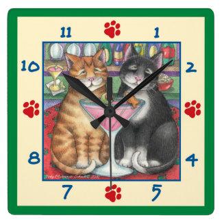 Martini Cats Square Wall Clock
