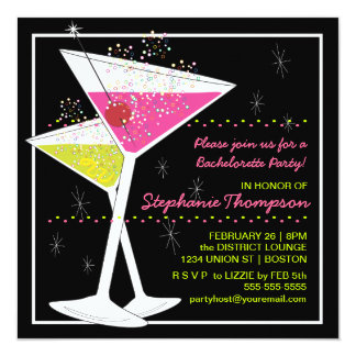 Martini Cocktail Bachelorette Party Invitation