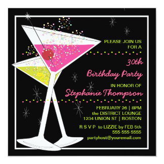 Martini Cocktail Birthday Party Invitation