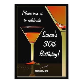 "Martini Cocktail Birthday Party 4.5"" X 6.25"" Invitation Card"