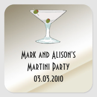 Martini Cocktail Party Invitation Favor stickers