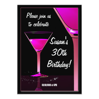 """Martini Cocktail Pink Birthday Party 4.5"""" X 6.25"""" Invitation Card"""
