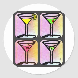MARTINI COLLAGE PRINT, Lemon Drop, Appletini, Cosm Classic Round Sticker