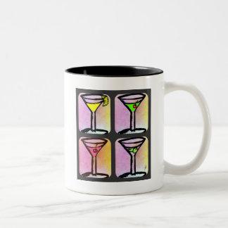 MARTINI COLLAGE PRINT, Lemon Drop, Appletini, Cosm Two-Tone Coffee Mug