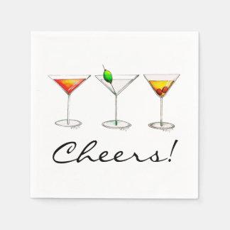Martini Cosmo Manhattan Cocktail Cheers Napkins