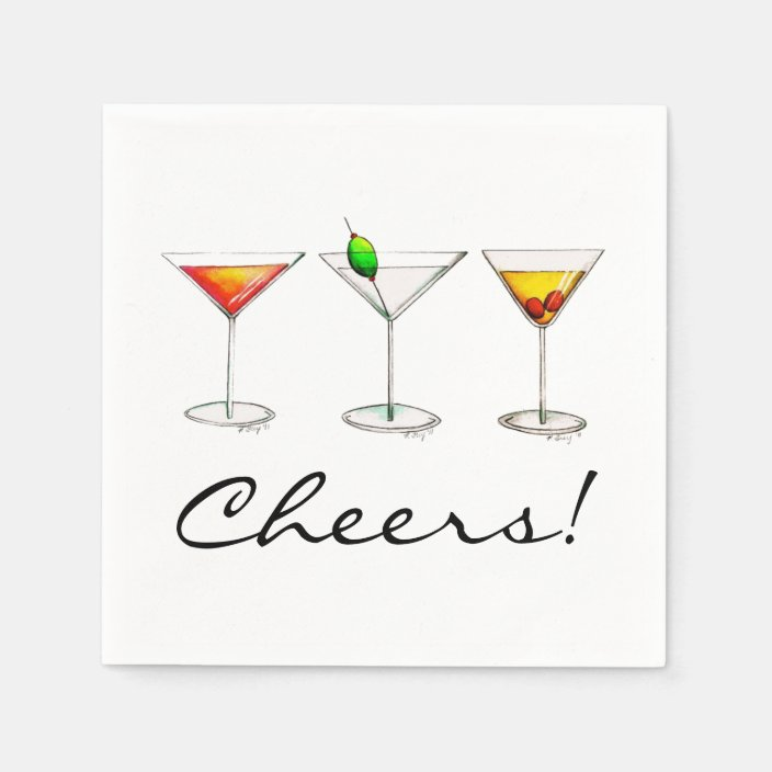 Martini Cosmo Manhattan Cocktail Drinks Cheers Paper Napkins Zazzle Com