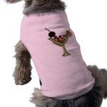 MARTINI - CRYSTAL LOOK PINK MARTINI PRINT DOG TEE