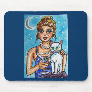 MARTINI DIVA WITH HER WHITE CAT MOUSE PAD