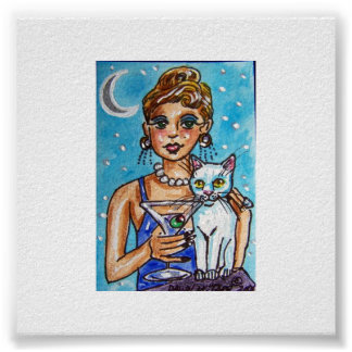 MARTINI DIVA WITH HER WHITE CAT POSTER
