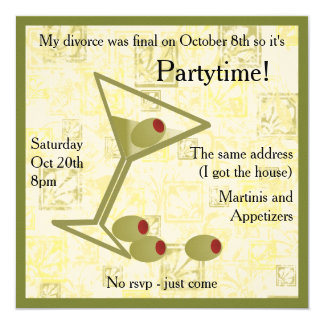 Martini Divorce Party Invitation