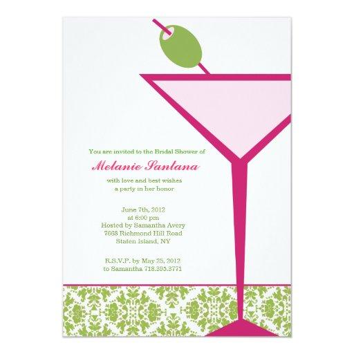 Martini elegante nupcial/Bachelorette/cumpleaños Invitación 12,7 X 17,8 Cm