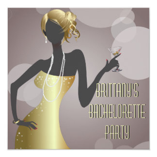 Martini Girl in Gold Bachelorette Party Invitation