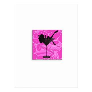 martini girl line postcard