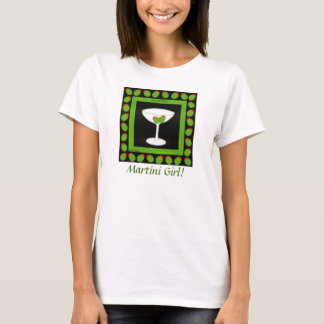 Martini Girl Retro Drink Art Green Olives Black T-Shirt