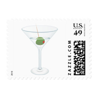 Martini Glass Alcohol Cocktail Party Olive Stamp