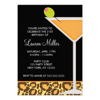Martini Glass and Leopard Print Invitations