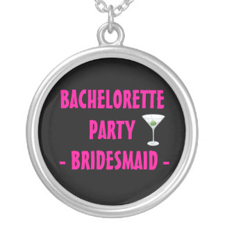 Martini Glass Bachelorette Party Pink Bridesmaid Silver Plated Necklace