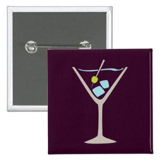 Martini Glass 2 Inch Square Button