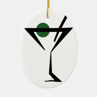 Martini Glass Ceramic Ornament
