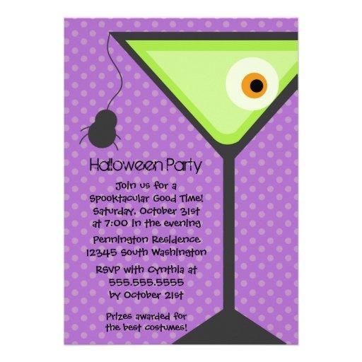 Martini glass eyeball Halloween party invitation