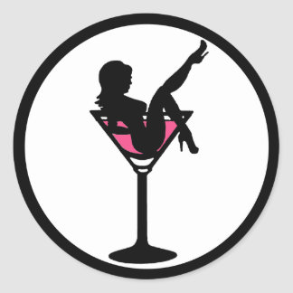 Martini glass girl black white pink stickers