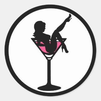 Martini glass girl black white pink stickers