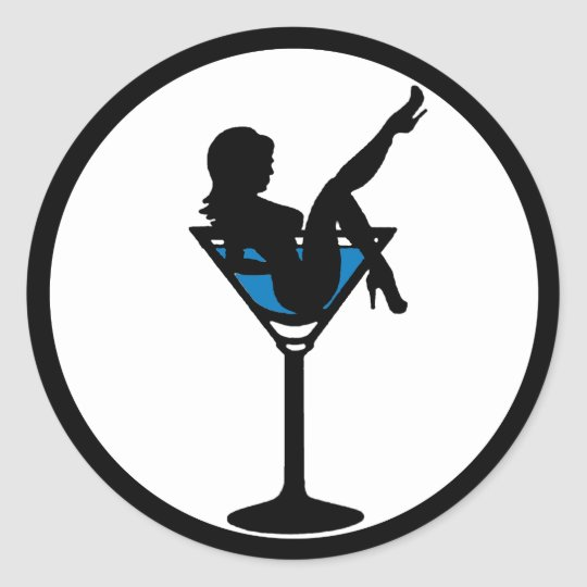 Martini Glass Girl Silhouette Blue Drink Stickers Zazzle Com