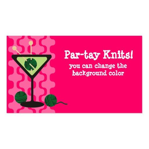 Martini glass knitting needles yarn gift tag business card template