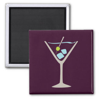 Martini Glass 2 Inch Square Magnet