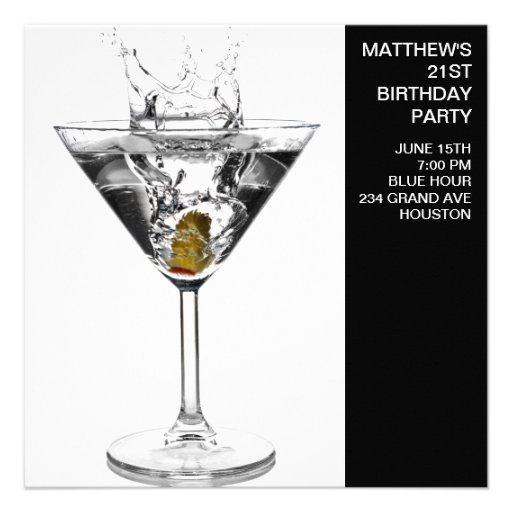 Martini Glass Mans 21st Birthday Party Personalized Invitations