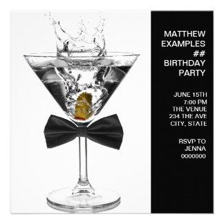 Martini Glass Mans Any Number Birthday Party Custom Invitations