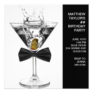 Martini Glass Mans Any Number Birthday Party Personalized Invitation