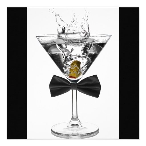 Martini Glass Mans Any Number Birthday Party Personalized Invitation (back side)