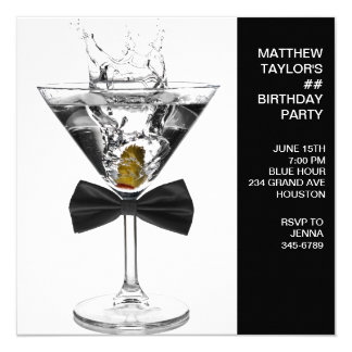 "Martini Glass Mans Any Number Birthday Party 5.25"" Square Invitation Card"