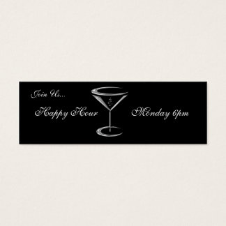 Martini Glass Metallic Happy Hour Business Cards