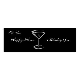 Martini Glass Metallic Happy Hour Business Cards