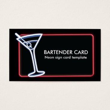Professional Business Martini Glass Neon Logo Business Card