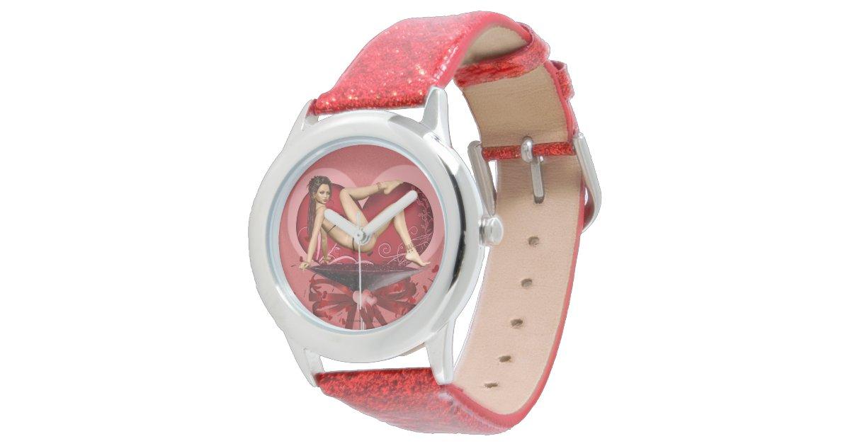 Martini glass pinup girl art wrist watch zazzle for Minimal art wrist watch