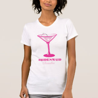 Martini Glass & Ring Bridesmaid Wedding Favor T-Shirt